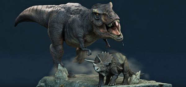 bitva-dinozavrov-tiranozavr-trizeraptos